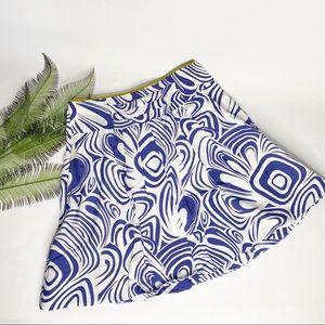 CAbi A-Line Skirt Blue White Green 4